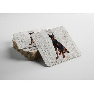 Creatief Art Hond Dobberman | Houten Onderzetters 6 Stuks