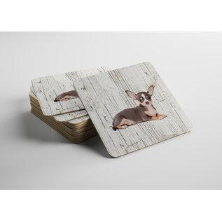 Creatief Art Hond Chihuahua   Houten Onderzetters 6 Stuks