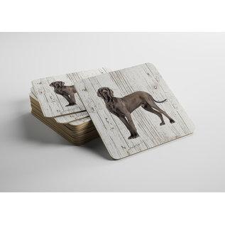 Creatief Art Hond Deense Dog | Houten Onderzetters 6 Stuks