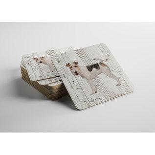 Creatief Art Hond Draadhaar Fox Terriër | Houten Onderzetters 6 Stuks