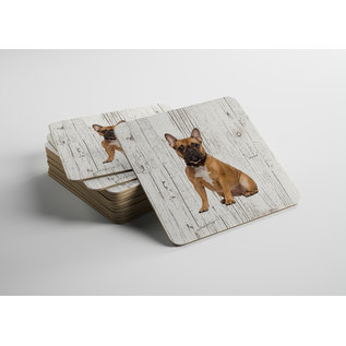 Creatief Art Hond Bulldog | Houten Onderzetters 6 Stuks