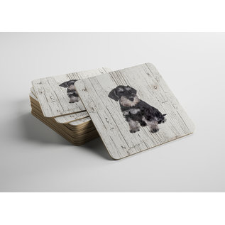Creatief Art Hond Dwergschnauzer | Houten Onderzetters 6 Stuks