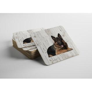 Creatief Art Hond Oudduitse Herder | Houten Onderzetters 6 Stuks