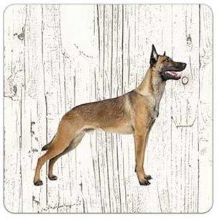Creatief Art Hond Mechelse Herder | Houten Onderzetters 6 Stuks