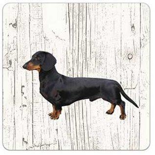 Creatief Art Hond Kortharige Teckel Zwart | Houten Onderzetters 6 Stuks