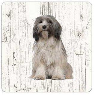 Creatief Art Hond Tibetaanse Terriër | Houten Onderzetters 6 Stuks