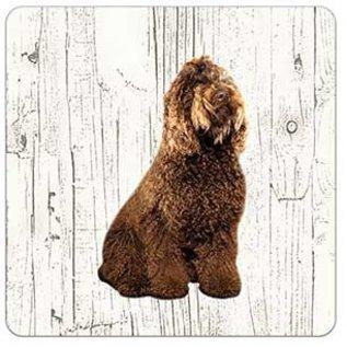 Creatief Art Hond Barbet | Houten Onderzetters 6 Stuks