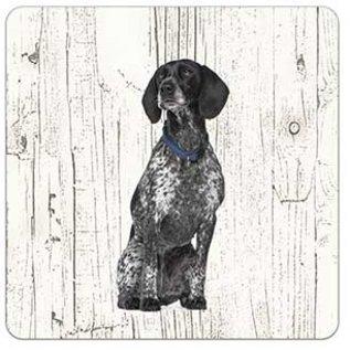 Creatief Art Hond Braque d Auvergne | Houten Onderzetters 6 Stuks