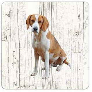 Creatief Art Hond Foxhound | Houten Onderzetters 6 Stuks