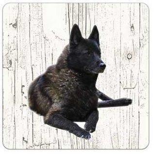 Creatief Art Hond Noorse Elandhond | Houten Onderzetters 6 Stuks