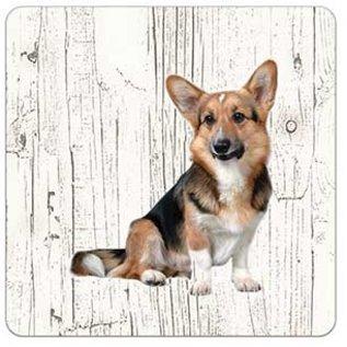 Creatief Art Hond Welsh Corgi Cardigan | Houten Onderzetters 6 Stuks