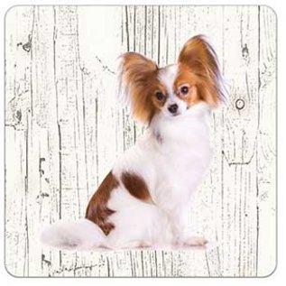 Creatief Art Hond Vlinderhond | Houten Onderzetters 6 Stuks
