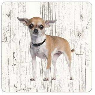 Creatief Art Hond Chihuahua kort haar | Houten Onderzetters 6 Stuks