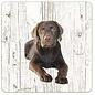 Creatief Art Hond Labrador bruin   Houten Onderzetters 6 Stuks