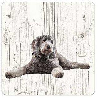 Creatief Art Hond Labradoodl grijs   Houten Onderzetters 6 Stuks