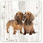 Creatief Art Hond Tekkel | Houten Onderzetters 6 Stuks