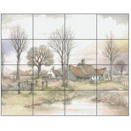 Pixel Hobby pixel hobby 16 Assiettes - Paysage avec maisons
