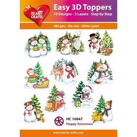 Hearty Crafts Easy 3D topper Happy Snowmen