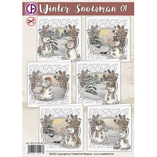 Creatief Art Winter snowman 01 - Kaartenpakket