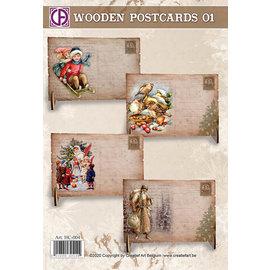 Creatief Art Cartes postales en bois 01