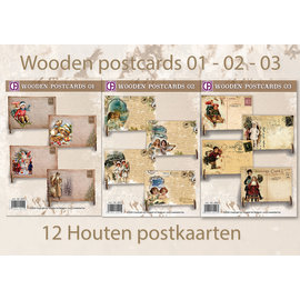 Creastitch Actie Wooden Postcards 01 - 02 - 03