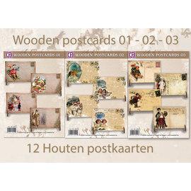 Creastitch Promotion Holzpostkarten 01 - 02 - 03