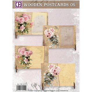 Creatief Art Cartes postales en bois 05
