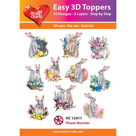 Hearty Crafts Easy 3D topper Flower Bunnies