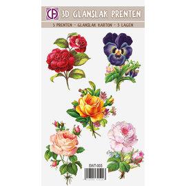Creatief Art Impressions 3D Glang Escargot - Fleurs et Roses 01