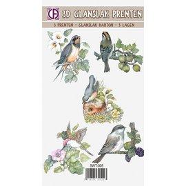 Creatief Art 3D Glangslak Prenten - Bloemen en vogels 01