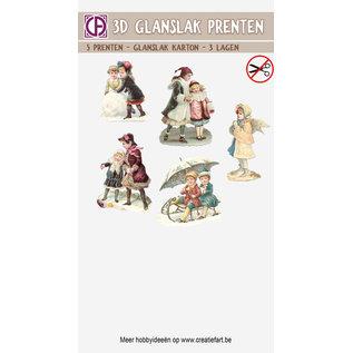 Creatief Art 3D Glanslak Prenten - Vintage Kerst 01