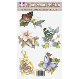Creatief Art 3D-Glanzlackdrucke - Blumen und Schmetterlinge 01