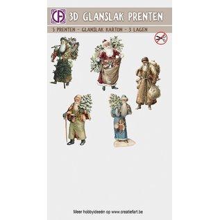 Creatief Art 3D glanslak Prenten - Vintage Kerstmannen