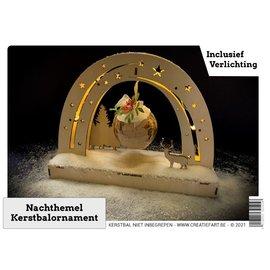 Creatief Art Houten kerststuk - nachthemel + Bal 8cm