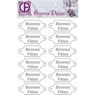"""Diepdruk labels """"Bonnes Fetes"""" 24 labels"""