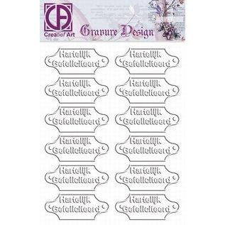 """Diepdruk labels """"Hartelijk Gefeliciteerd"""" 24 labels"""