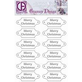 """Diepdruk labels """"Merry Christmas"""" 12 labels"""