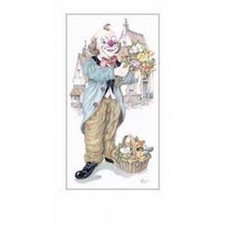 Creatief Art Pakket 6st SWR1-122 clown met mand bloemen