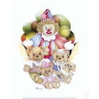 Creatief Art Pakket 6x  SW clown met beertjes