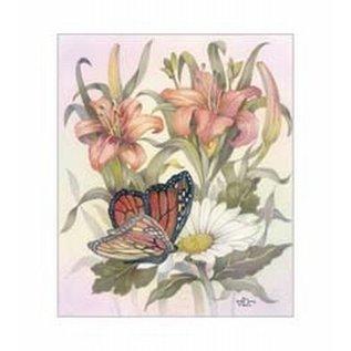 Creatief Art Pakket 6x  SWR6-0042 Bloemen met vlinder