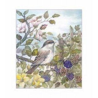 Creatief Art Pakket 6x  SWR6-0043 Vogel op tak met bessen