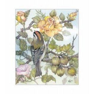 Creatief Art Pakket 6x  SWR6-0044 vogel op tak bij rozen