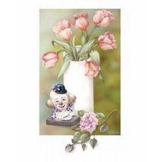 Creatief Art Pakket 6x SWR 3-0122 clownbeeld bij bloemvaas