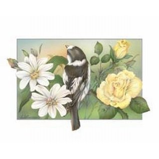 Creatief Art Pakket 6x SWR 3-0123 vogel bij rozen