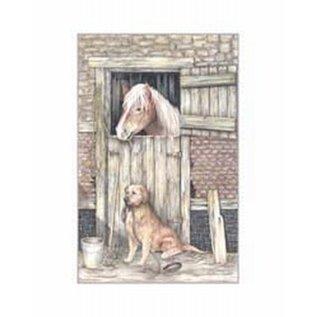 Creatief Art Pakket 6x SWR 3-0126  paard in stal met hond