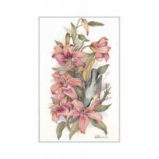 Creatief Art Pakket 6x SWR 3-0128 vogel in bloemen