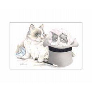 Creatief Art Pakket 6x SWR 3-0148 katjes in hoed