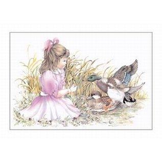 Creatief Art Pakket 6x SWR2-0004 meisje met eenden