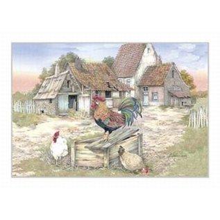 Creatief Art Pakket 6x SWR2-0065  landschap met kippen