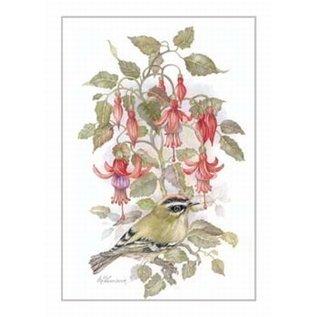 Creatief Art Pakket 6x SWR2-0074  vogel met bloemen
